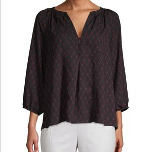 Joie Gloria Printed Top Split Neck Pullover Blouse
